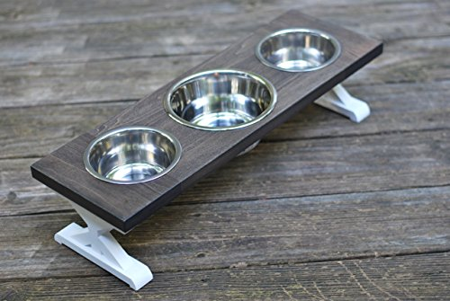 Small Three Bowl Farmhouse Dog Bowl Stand by BillsCustomBuilds
