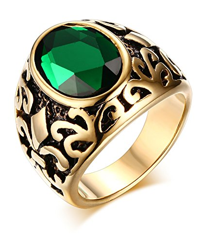 Mealguet Jewelry Stainless Steel Men Women Vintage Retro Gold Plated Glass Fashion Ring, - Dollar 7 Glasses