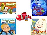 Children's Gift Bundle - Ages 3-5 [5 Piece] - Shrek Forever After Memory Game - Hours of Classic Cartoon Fun DVD - Toy Factory Coral Reef Fish Pink White Plush - Tyler Timothy Bradford and the Birt