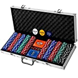 Professional 500 Chips (11.5g) Poker Set with Case by Rally & Roar - Complete Poker Playing Game Sets with Casino Style Chips, Cards, Dice, Aluminum Color Case & Keys