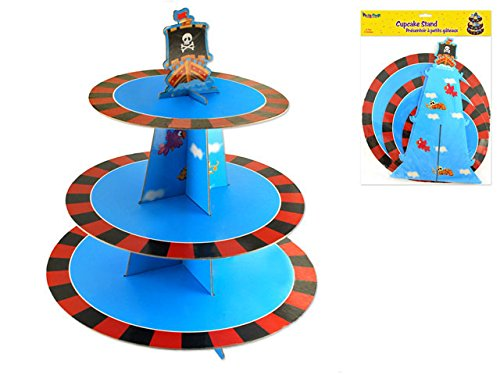 Cupcake Stand for Boy Birthday   3 Tier Holders   Tower Serving up to 24 Cupcakes   Pirate Life Theme   Perfect Treat Display Stacker   Round, Blue, Sturdy Cardboard & Reusable   14
