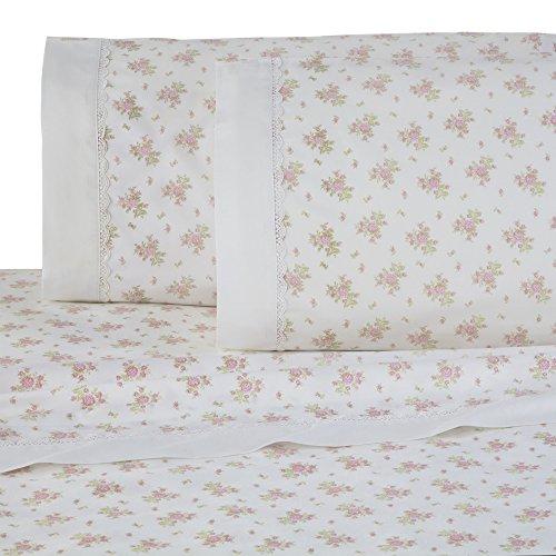 (Martex Decorative Lace Hem Sheet Set, Full, Pink Floral)