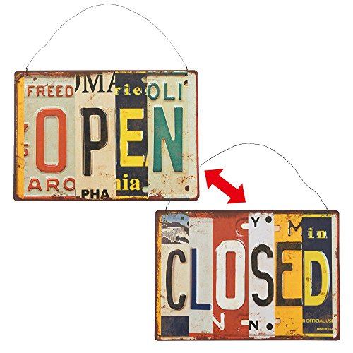 - Time Concept Shabby Chic Garage Style Word Tinplate - License Plate Open & Close - Retro Vintage Sign, Home/Wall/Bar/Cafe/Shop Décor