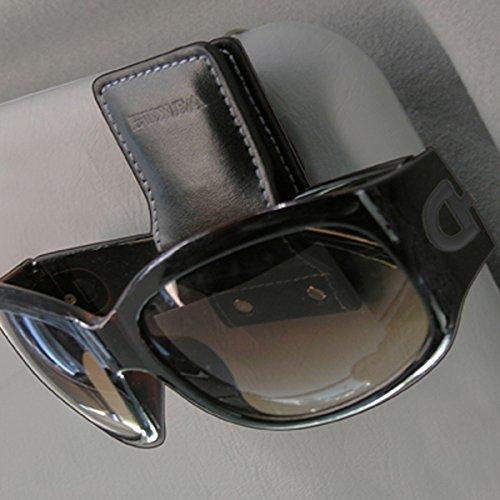 Seiko Japan EC-123 Car Sun Visor Magnet Clip Sunglass Eye Glass Holder Organizer Universal, Black Leather Stitch Seikosangyo