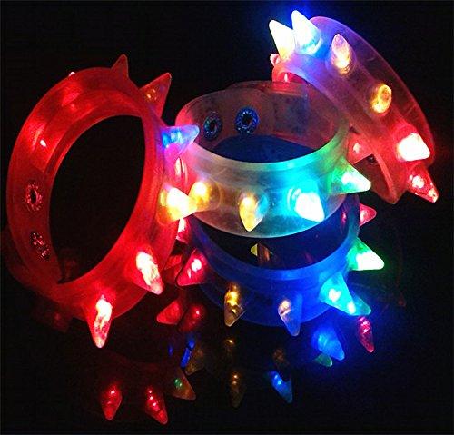 Flashing LED Light-up Spike Bracelets (2 Dozen - 24 Pcs) -