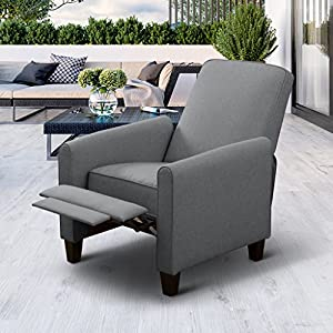 LANGRIA Contemporary Recliner Living Padded Sofa Chair for Home or Office, Ergonomic Armrests/Footrests with Premium New Foam and Fabric Upholstery, (Smoke Grey)