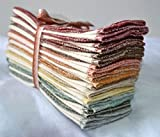 1 Ply 11x12 Inches Natural Unbleached Birdseye Paperless Towel Set of 10 Assorted Earthtone Colors