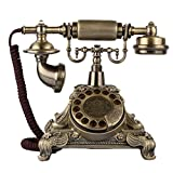 ZHILIAN European and American Style Rural Retro Style Home Fixed Telephone Landline Bronze Rotary Dial with Display (Size : Rotating Section)