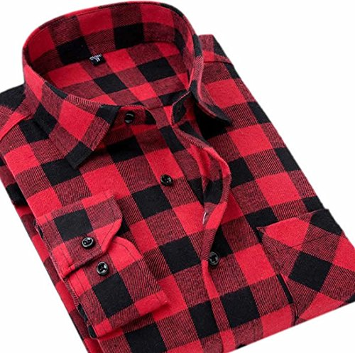 eckered Plaid Flannel Long Sleeve Shirt Red XL (Checkered Flannel)