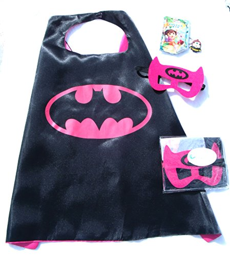 Superhero Cape & Mask Sets with bonus prize for Pretend Play, Dress Up, & Parties by Color-N-Splash (Batgirl Toddler Costume)