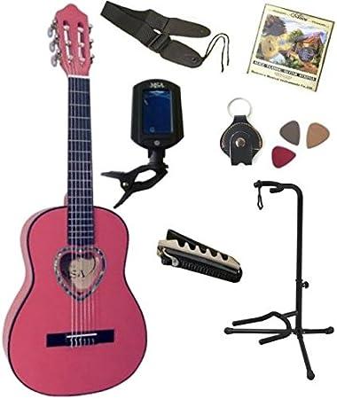 Pack Guitarra clásica 1/4 rosa 7 accesorios para niño rosetón en corazón: Amazon.es: Instrumentos musicales