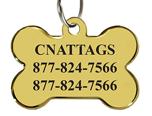 (CNATTAGS 24K Gold Plated Pet ID Tags, Personalized, Premium Brass 24K Gold Plated (Bone))
