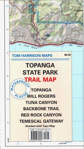 Topanga State Park Trail Map: Topanga, Will Rogers, Tuna Canyon, Backbone Trail, Red Rock Canyon, Temescal Gateway: Shaded-Relief Topo Map (Tom Harrison - Topanga Of Canyon Map