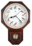 Unique 12 North America Bird's Song Schoolhouse Pendulum Wall Clock with Chimes Every Hour Melody Made in Taiwan (TCBD-PP0259 Wood Grain)