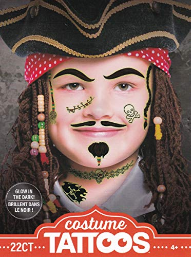 Halloween Realistic Glow-in-the-Dark Temporary Costume Make Up Face Tattoo Kit Boy or Girl - (Child Pirate) - 2 Kits ()