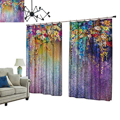 PRUNUS Blackout Curtain with Hook Abstract Floral Watercolor Painting Hand Painted White,Yellow and Red Flowers Nice Bedroom Design,W72 ()