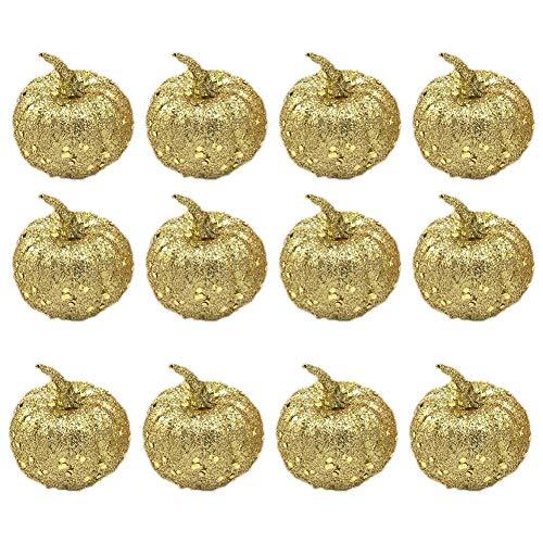 (wintefei 12Pcs Halloween Glitter Sequins Fake Pumpkins Party Home Garden Decor Ornaments)