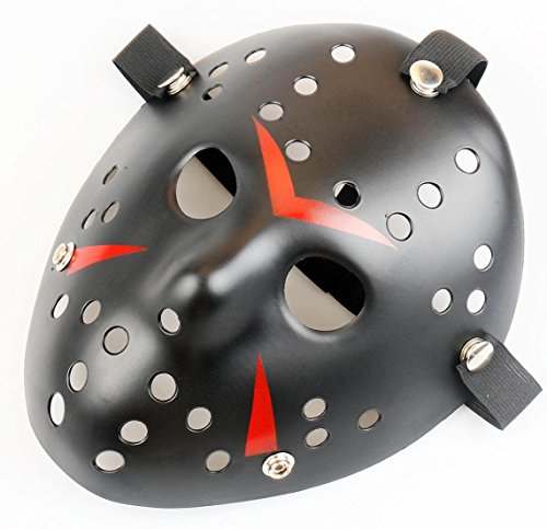 Friday The 13th Jason Hockey Mask (Gmasking Friday The 13th Horror Hockey Jason Vs. Freddy Mask Halloween Costume Prop (Black))