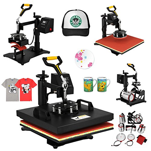 Mophorn Heat Press 15 X 15 Inch 8 in 1 Desktop Iron Baseball Hat Press Multifunction Sublimation Heat Press Machine Digital Swing Away Design (15 by 15 Inch 8 in 1)