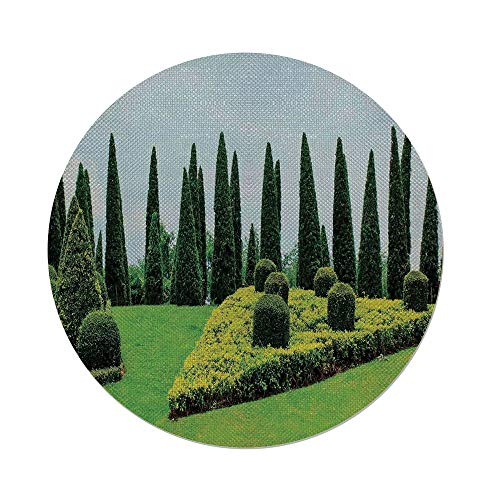 iPrint Cotton Linen Round Tablecloth,Country Home Decor,Classic Formal Designed Garden With Evergreen Shrubs Boxwood Topiaries,Dining Room Kitchen Table Cloth ()