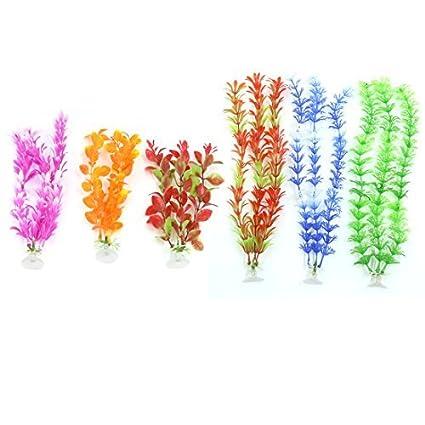 eDealMax a16071400ux0496 6 pedazo planta Decoración del ornamento de plástico acuario Con ventosa