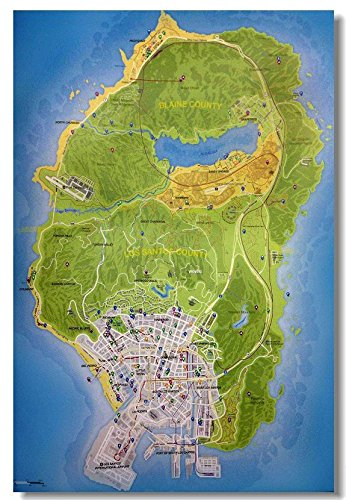 Da Bang Grand-Theft-Auto-5 Map Classic Fashion Movie Style Custom Poster Print Size(40x60)cm
