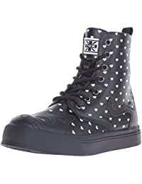 Women's Heart Print Kitty High Top Combat Boot