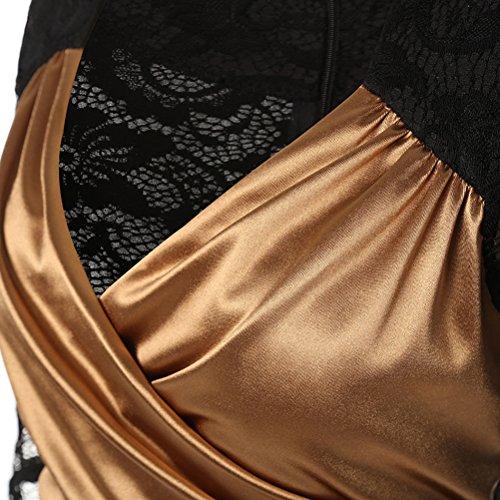 1b76775cf8cd ... Damen V-Ausschnitt Elegant Brautjungfer Cocktailkleid Partykleid  Etuikleid mit Spitze Festliches Kleid A Linie Kurzarm