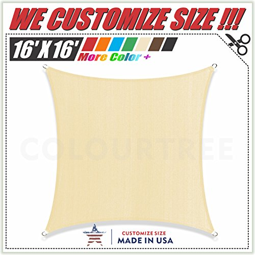 ColourTree 16 x 16 Beige Sun Shade Sail Canopy Square, Commercial Standard Heavy Duty, We Make Custom Size