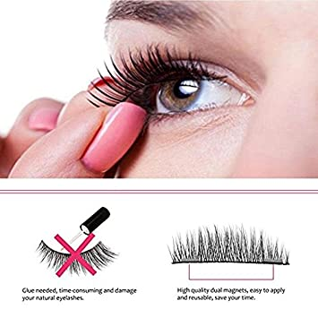 59220a3a7ef Magnetic Eyelashes No Glue, FITNATE Dual Magnet Black False Eyelashes for  Natural Look - 3D