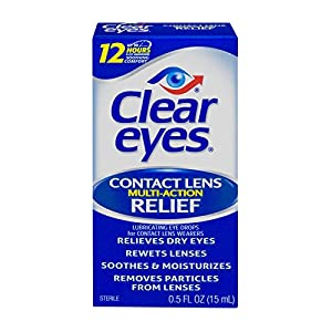 Clear Eyes Contact Lens Multi-Action Relief - #1 Selling Brand of Eye Drops - Soothes and Moisturizes Dry Eyes While Rewetting Lenses - 0.5 Fl Oz