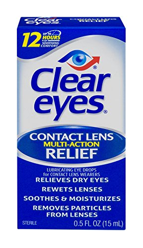 Lens Drops Rewetting (Clear Eyes Contact Lens Multi-Action Relief - #1 Selling Brand of Eye Drops - Soothes and Moisturizes Dry Eyes While Rewetting Lenses - 0.5 Fl Oz)