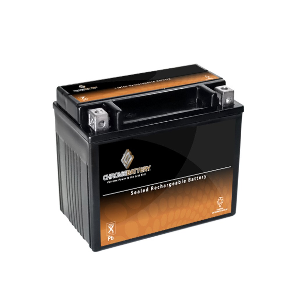 Chrome Battery YTX12-BS High Performance Maintenance Free Sealed AGM Motorcycle Battery
