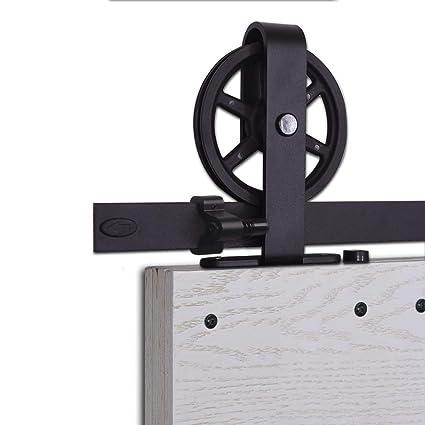 CCJH 6.6FT-200cm Herraje para Puerta Corredera Kit de Accesorios para Puertas Correderas Rueda