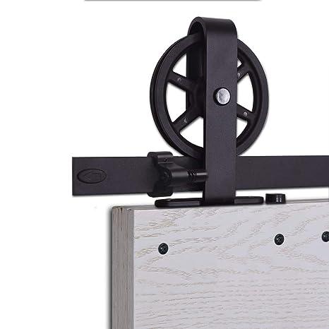 CCJH 6.6FT-200cm Herraje para Puerta Corredera Kit de Accesorios para Puertas Correderas Rueda Riel Juego para Dos Puertas de Madera