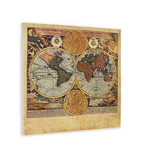 World Old Poster Map (WallDeco Unique Vintage Kraft World Map Canvas Wall Art Retro Map of the World on Canvas Prints Framed and Stretched for Living Room Bedroom Bar Decorations Ready to Hang 24x24)
