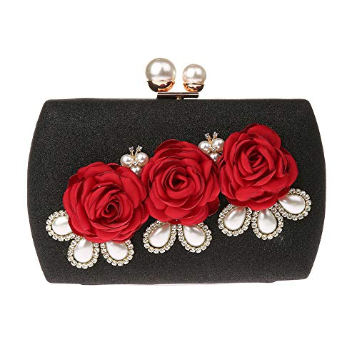 For Bags EPLAZA Purse Bride Handbag Beaded Black Floral Prom Women Rhinestone Clutch Evening Party Wedding qw1zpRrWq