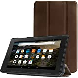 Ayotu Fire Tablet Case for Fire 7 2015,Protective Standing Cover for Amazon Fire Tablet (7 inch Display 5th Generation,Sept 2015 Model Only),Folding Series Stand Sleeve F7-10 Brown
