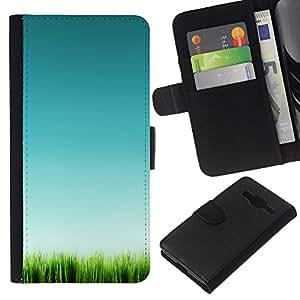 KLONGSHOP // Tirón de la caja Cartera de cuero con ranuras para tarjetas - Hierba Verde Naturaleza Limpia Pura - Samsung Galaxy Core Prime //