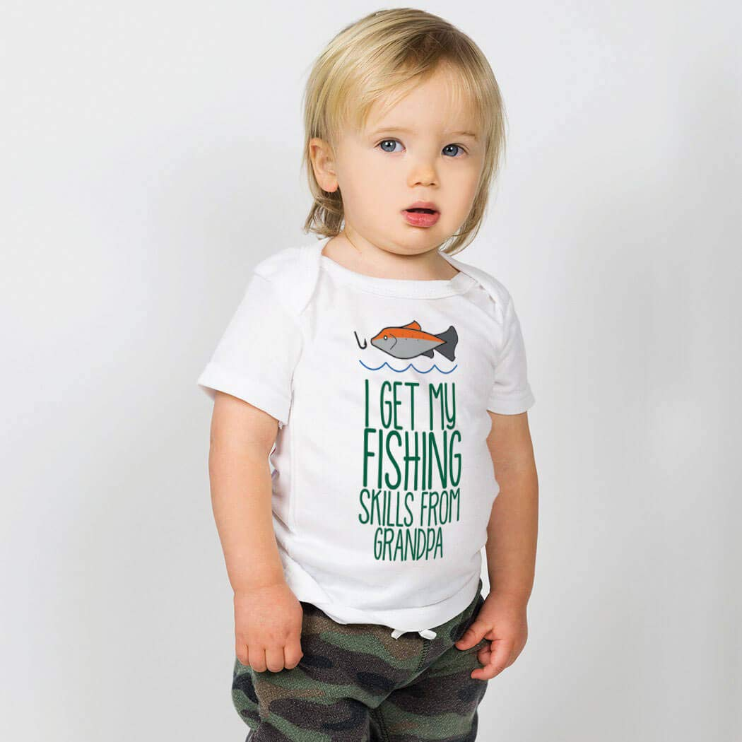 Colors /& Sizes ChalkTalkSPORTS Fly Fishing Baby /& Infant T-Shirts I Get My Skills from