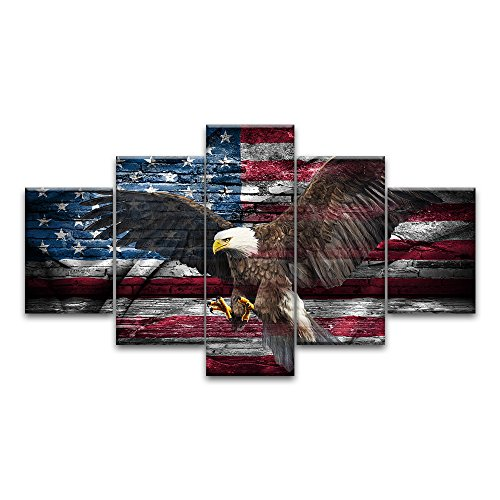 Retro USA US American Flag Bald Eagle Military Canvas Prints