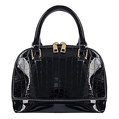 Queena Women's Dome Satchel Purse Patent Leather Tote Lady Shoulder Bag Handbag Top Handle Shell - Tote Mini Patent Leather
