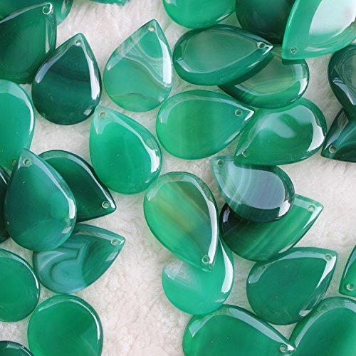 25x34mm Teardrop Green Agate Gemstone Pendants for Jewelry Making 2 Pieces (Teardrop Slice)