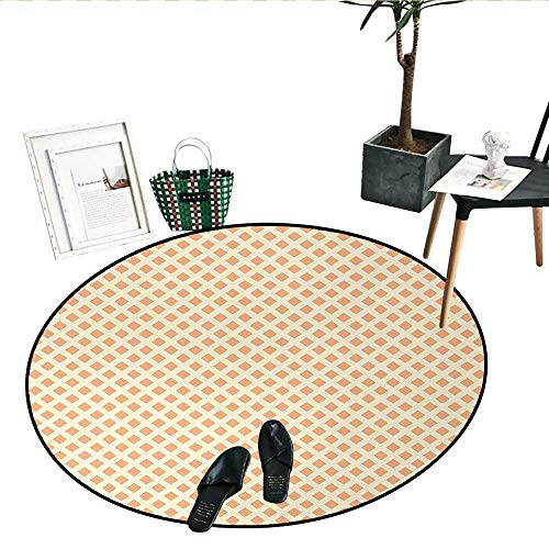 Geometric Round Small Door Mat Diagonal Cubical Diamond Line Pattern on Orange Background Tile Pattern Image Perfect for Any Room, Floor Carpet (24