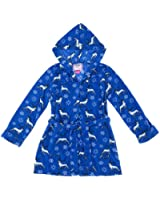 Bottoms Out Women's Blue Reindeer Snowflake Bath Robe