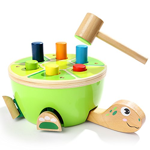 Tortoise Pounding Bench Wooden Toys for Toddlers – With Mallet and 6 Color Pegs by TOP BRIGHT
