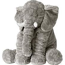 Missley Cute Elephant Pillow Toddler Sleeping Elephant Stuffed Plush Pillows Soft Plush Stuff Toys for Children Kids (grey)