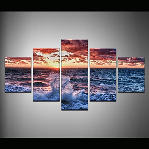 40x60 40x80 40x100cm No Frame Modern Wall Art Home Decoration Printed Oil Painting 5 Piece No Frame pintura al oleo Beautiful Sunrise On The Sea Landscape