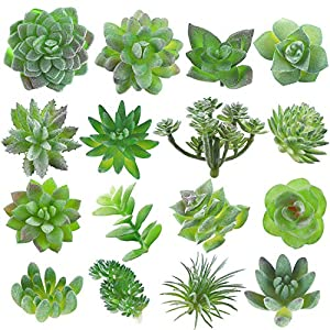 Fake Succulent, 16 Pcs Artificial Succulents Faux Succulents Artificial Succulents Plants Fake Succulent Unpotted Bulk Artificial Succulents for Birthday Home Decor Indoor Wall Garden Hotel Desk DIY 53