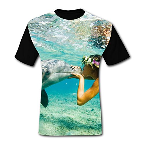 Under The Sea Costume Ideas For Couples (Sweet Kiss Underwater Dolphin T-shirts Tee Shirt for Men Tops Costume Round M)